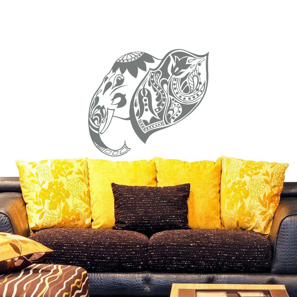 Special Hidu Ganesha Wall Decal Bohemian Elephant Head Living Room ...