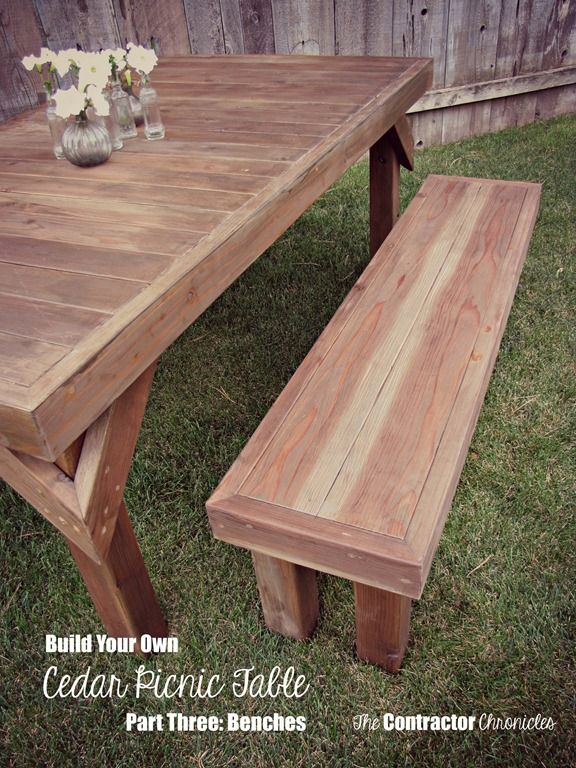 Build A Cedar Picnic Table   What A Cool Addition To An Outdoor Space.  Might Try The Benches For Extra Seating In Our Back Yard.