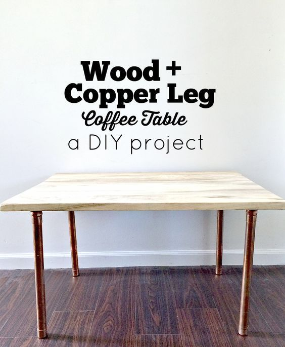 Love some of the high end modern coffee tables but don't have the budget for it? Try this simple DIY wood and copper leg coffee table. Our project is easy for beginners and you can find all your supplies at your local hardware store!