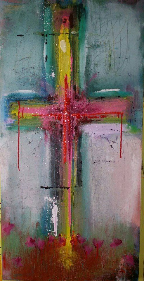 Cross finding him in you original abstract acryllic for Cross paintings on canvas