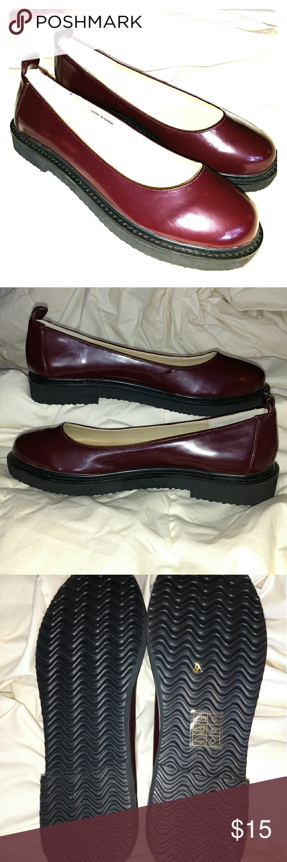 9a0ef238563 Cooperative (UO Brand) flat slipons •Faux leather deep burgundy patent flats  •One-inch black rubber sole •Very comfortable springy insoles • Size 9B ...