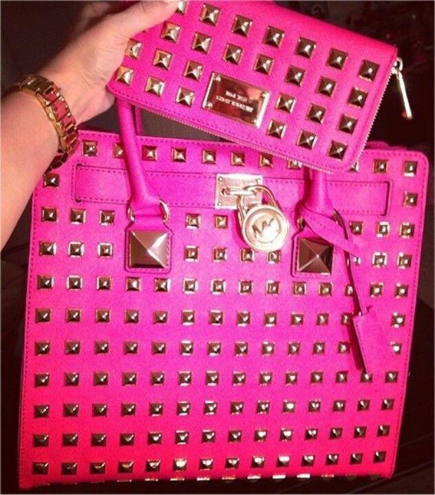e05fb911a437 Michael Kors Studded Hamilton Tote, Pink + Studded Hamilton Wallet, Pink.