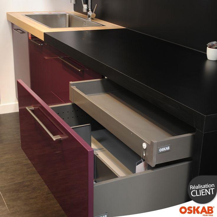 meuble de cuisine casserolier keria aubergine 2 tiroirs 1. Black Bedroom Furniture Sets. Home Design Ideas