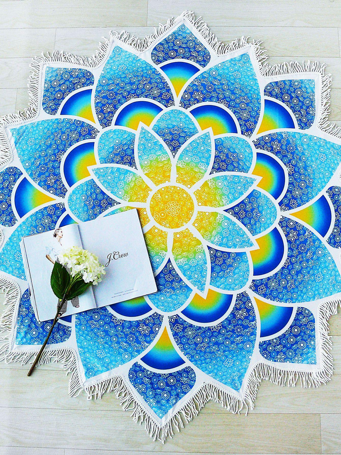 Lotus Mandala Fringe Trim Beach Blanket Products Id Like To
