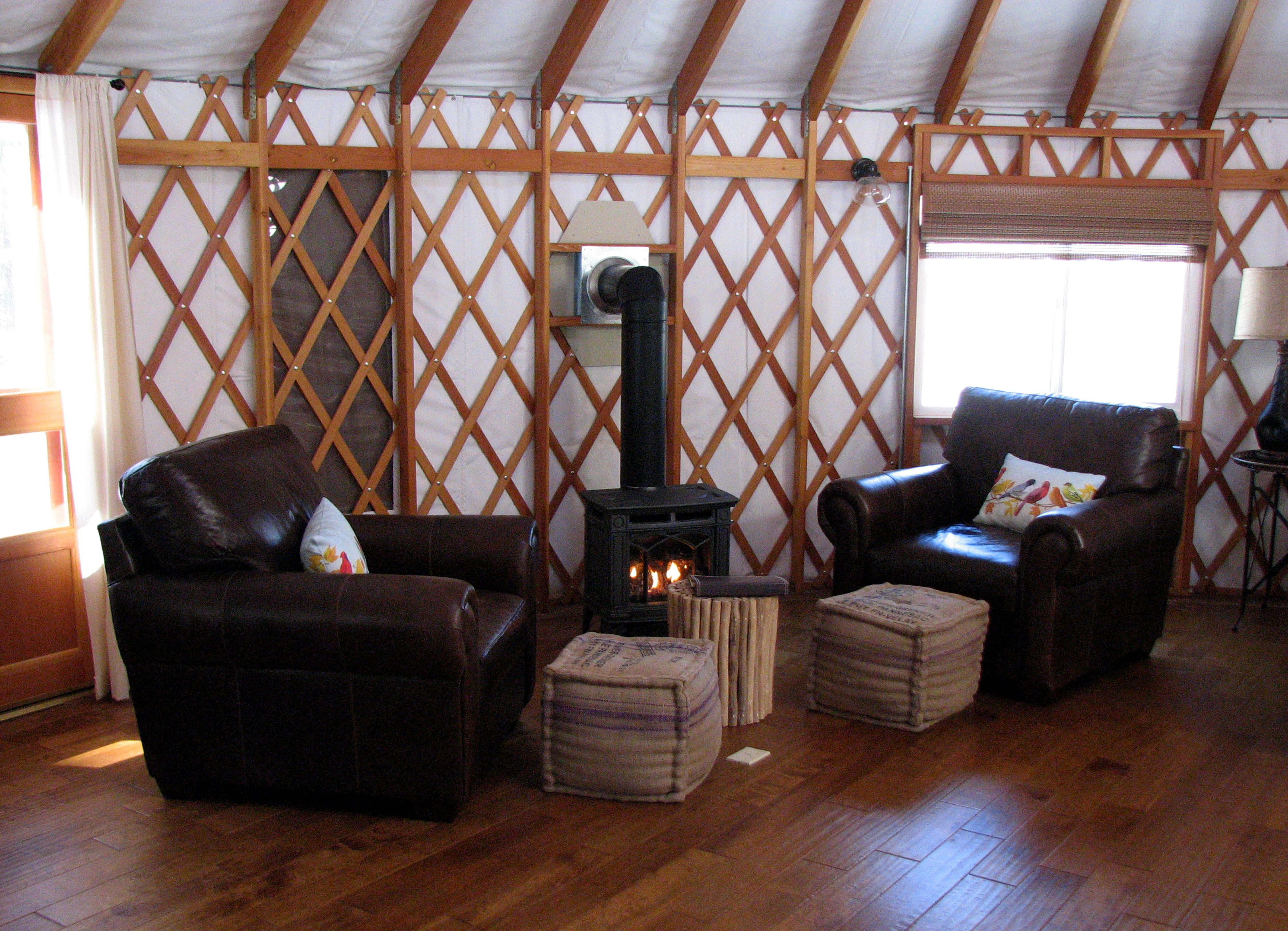 Radiant Floor Heat And Gas Fireplaces Make The Yurts A