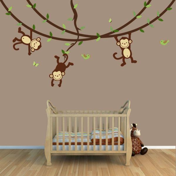 babyzimmer gestalten wandgestaltung affen zweige holzboden haus pinterest babyzimmer. Black Bedroom Furniture Sets. Home Design Ideas