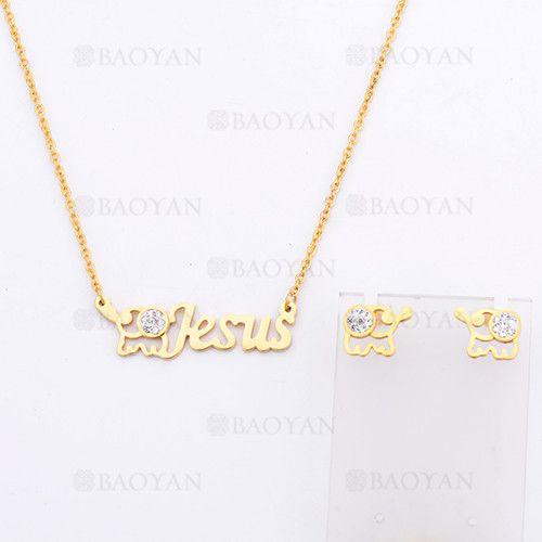 juego de collar y aretes de elefante con letra Jesus de dorado en acero-SSNEG924166