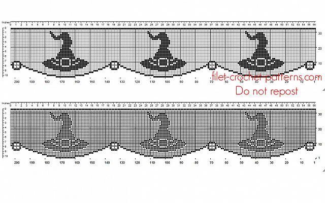 Free Crochet Filet Pattern Halloween Border With Witch Hat Free