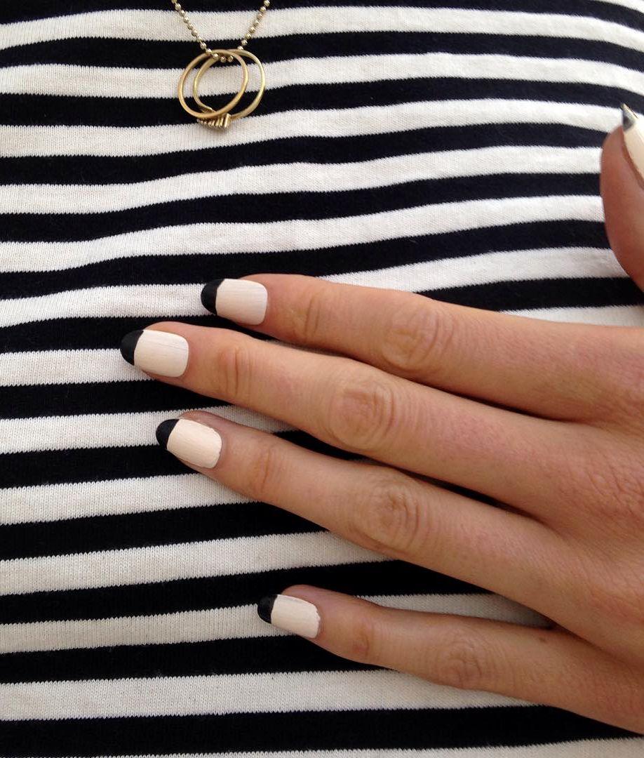 Black tips cream-white color nails manicure at Chanel Cercle Privé ...