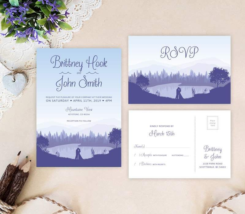 Mountain Wedding Invitation Kits Printed | Bride And Groom Wedding Invites  With RSVP Card | Purple