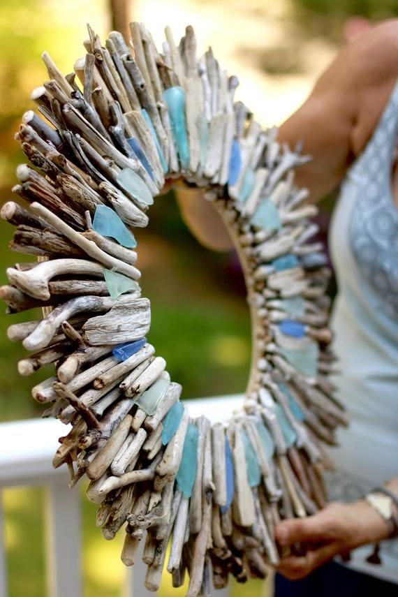 22 Driftwood Sunburst Wreath Blue Turquoise Aqua Sea | Etsy