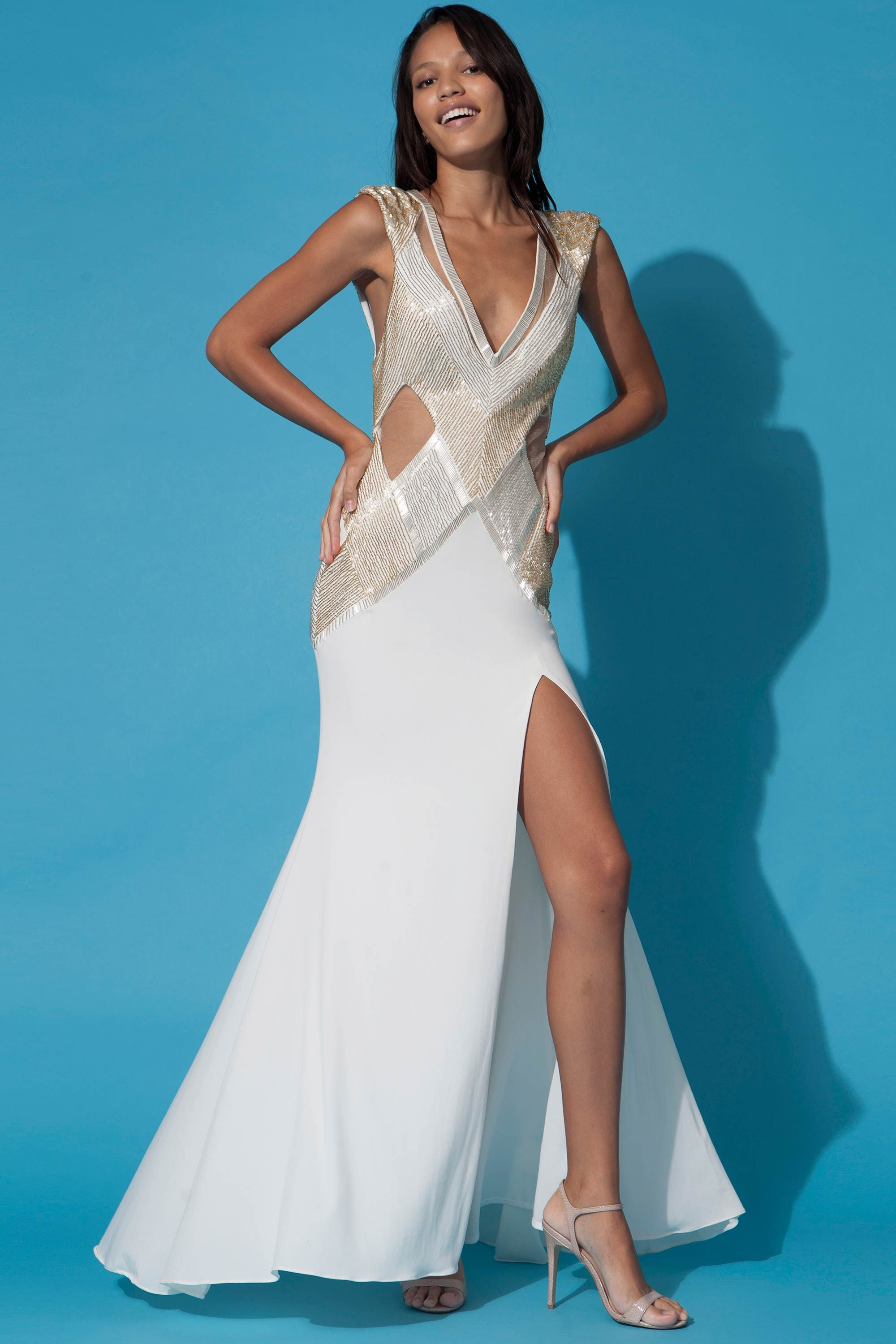 Fitted floor length dress in ivory | Jovani Gowns | Pinterest ...