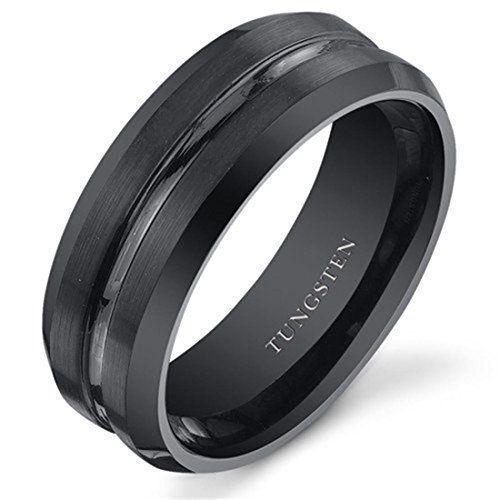 8mm,Polished Beveled Edge Mens Brushed Tungsten rings Wedding Ring Mens Wedding Band Black Diamond Brushed Tungsten Carbide Wedding Band