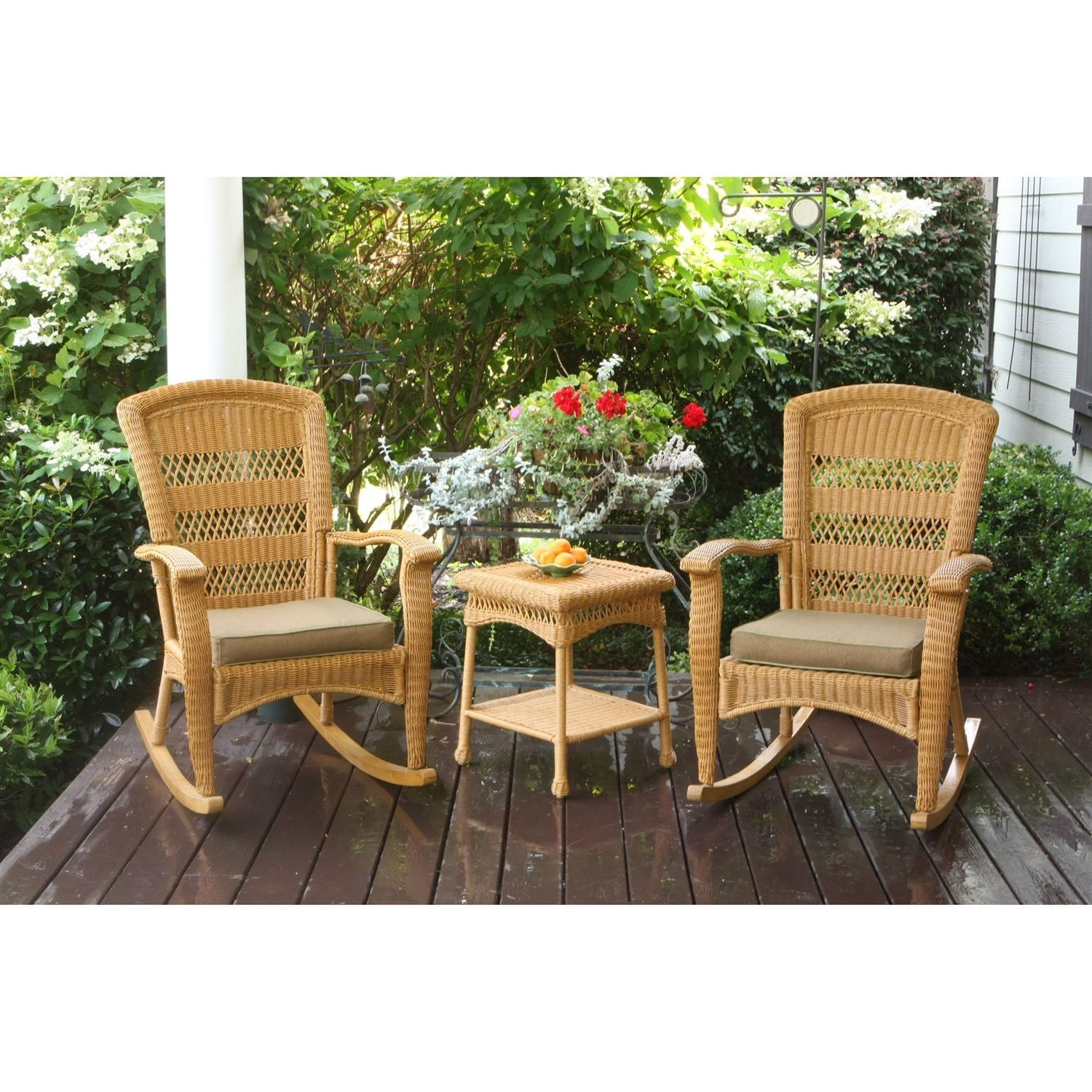 Tortuga 3PC Outdoor Porch Rocker Set 2 Amber Resin Wicker Rocking Chairs Table