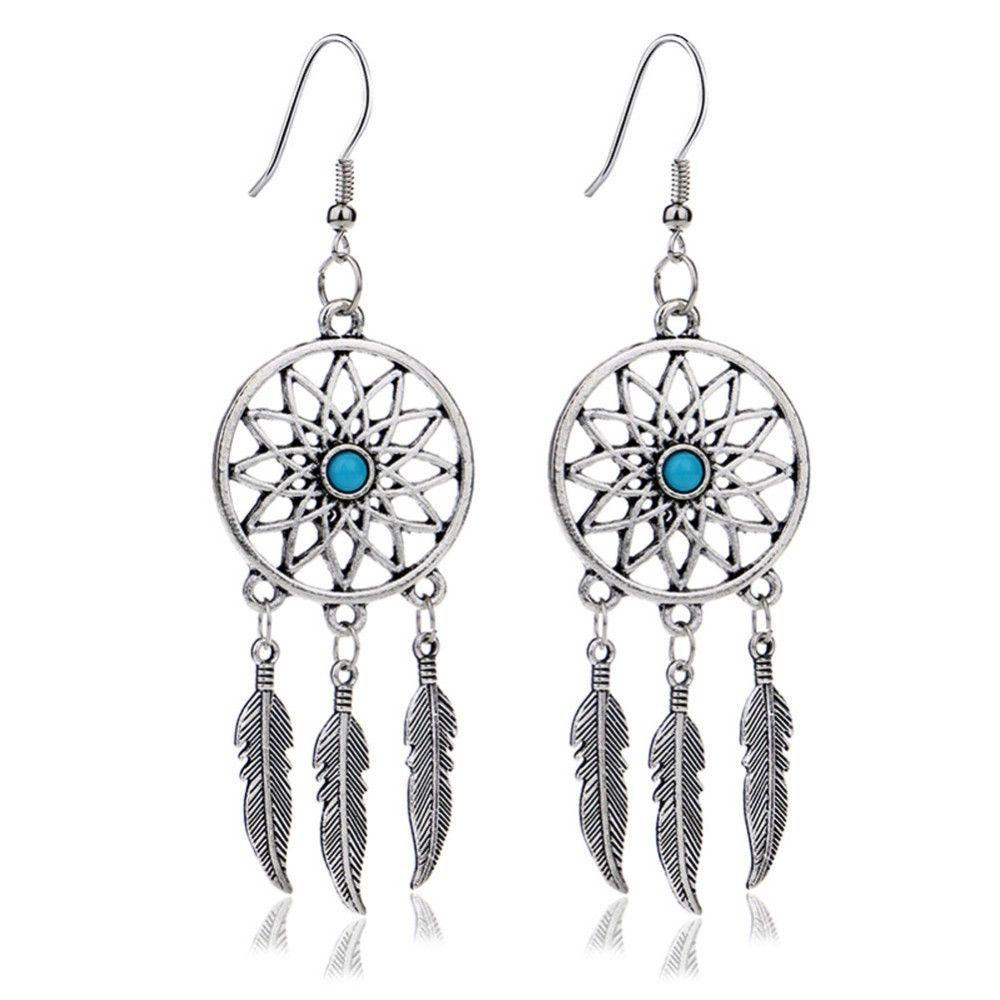 Dream Catcher Ear Drop Turquoise Feathers Dangle Earrings