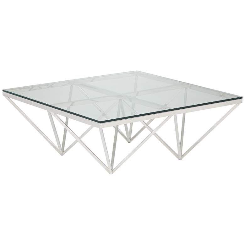 Luxor 41 1 2 Square Chrome And Glass Modern Coffee Table 31c70 Lamps Plus In 2020 Modern Glass Coffee Table Coffee Table Modern Coffee Tables