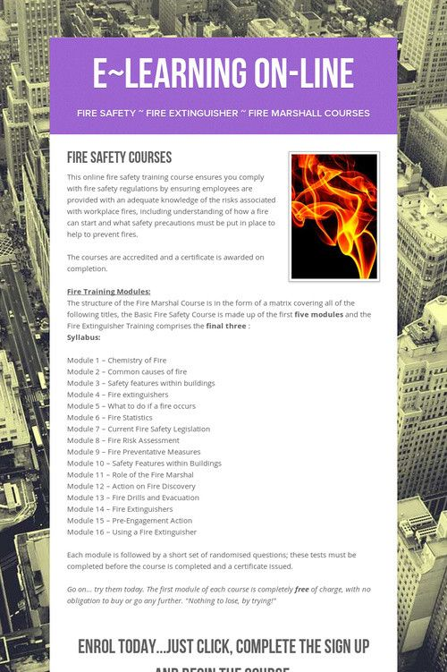 e~Learning On-Line e-Learning Courses Pinterest Fire safety