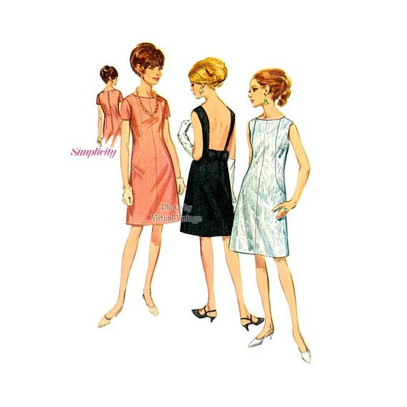 1960s Cocktail Dress Pattern Simplicity 6841 A Line Backless Dress Vintage Sewing Pattern, Uncut