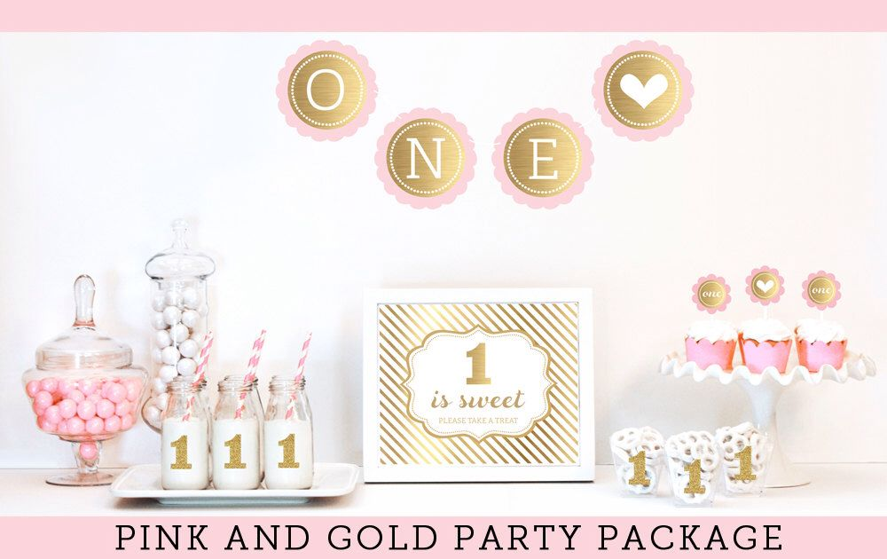 Pink and Gold Birthday Decorations - Gold Glitter Pink and Gold First Birthday Party Decor - 1st Birthday Girl Ideas KIT (EB4011FY) by ModParty on Etsy https://www.etsy.com/listing/202521047/pink-and-gold-birthday-decorations-gold
