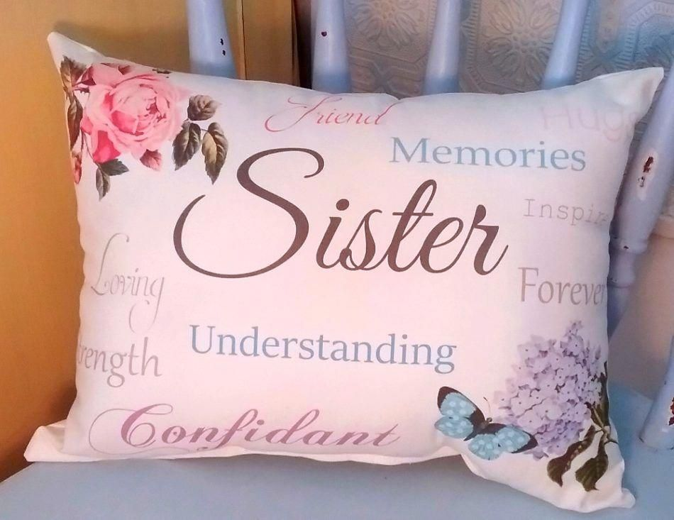 Handmade sentimental sister gift pillow with butterfly and