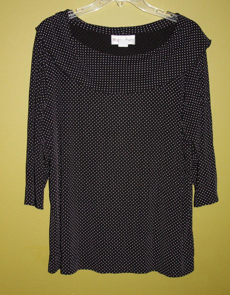Dress Barn 1X / 1XL Black & White Polka Dot Stretchy Top #Dressbarn ...