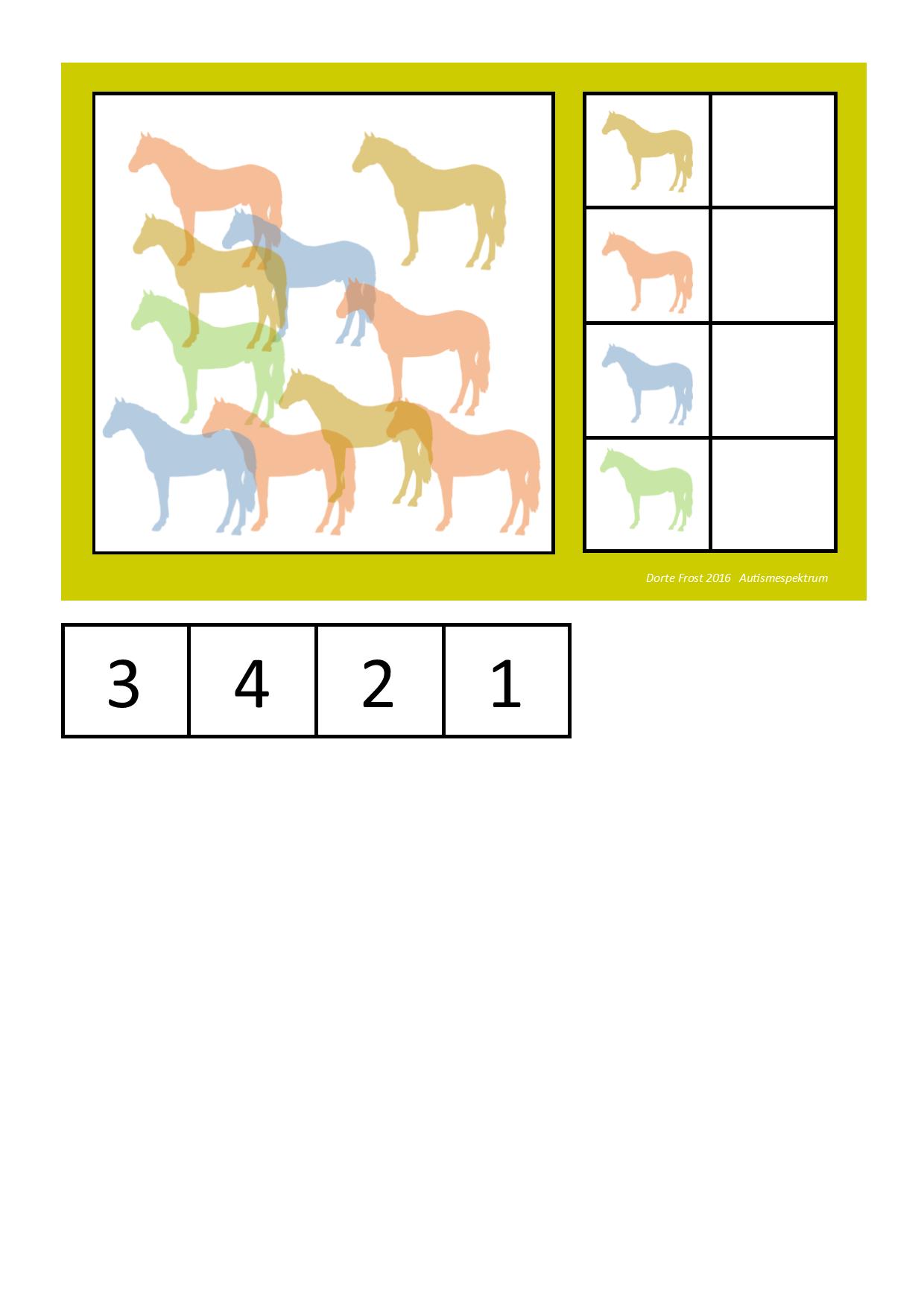 Horse counting game. By Autismespektrum | vizuális diszkrimináció ...