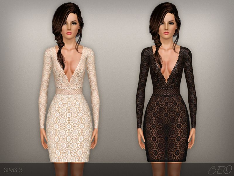 Lace transparent dress presented in 2 variants. Recolorable 4 canals.  Found in TSR Category 'Sims 3 Female Clothing'