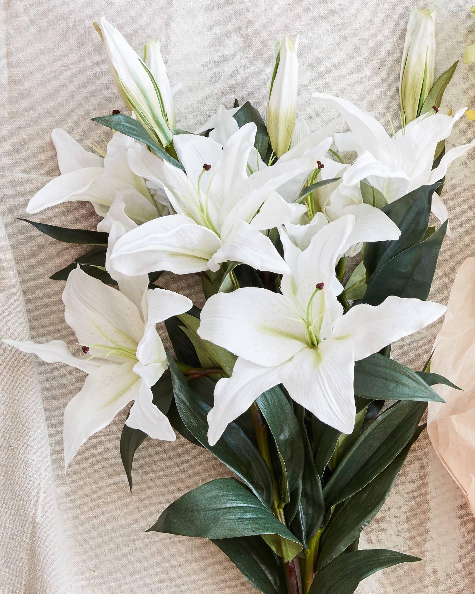 White Casablanca Lily Stems Bundle Lily Flower Oriental Lily Artificial Flowers