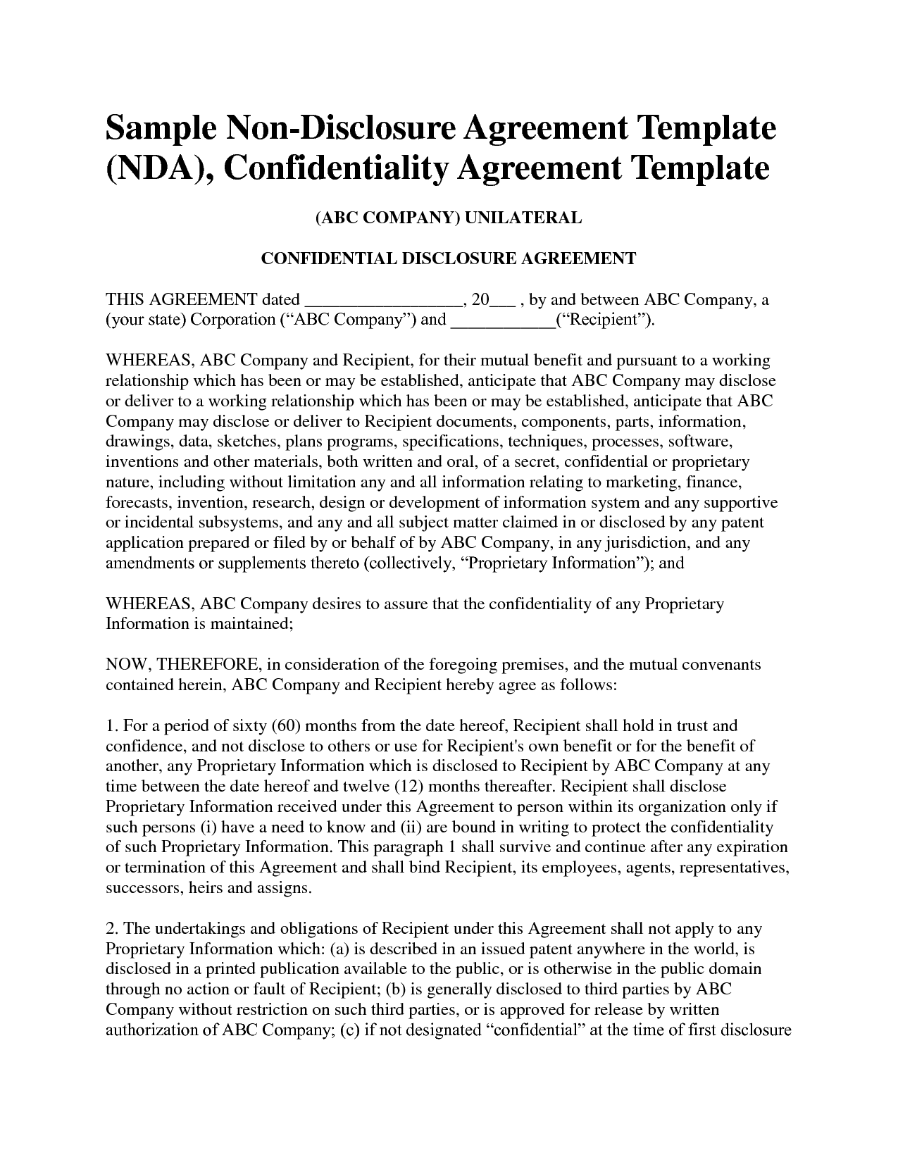 non disclosure agreement confidentiality agreement sample for