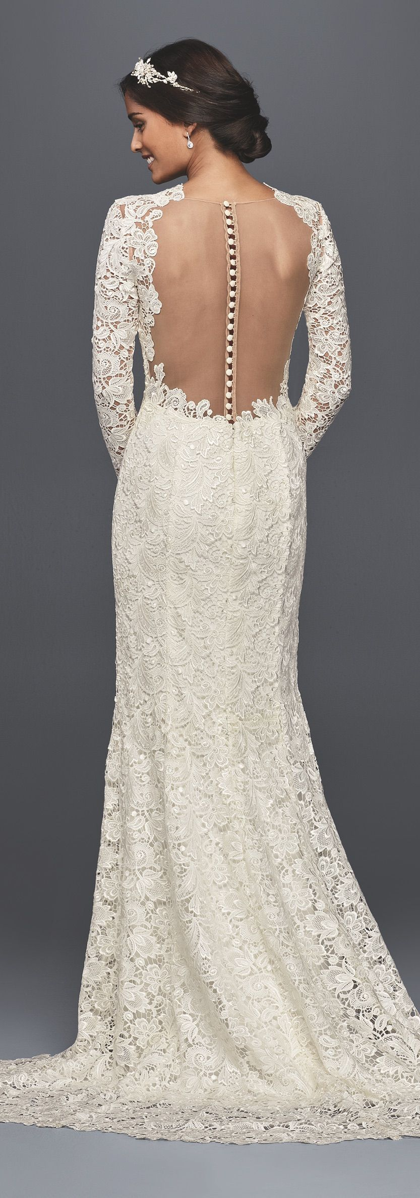 Long sleeve lace wedding dress with open back david 39 s for Lace dresses for weddings