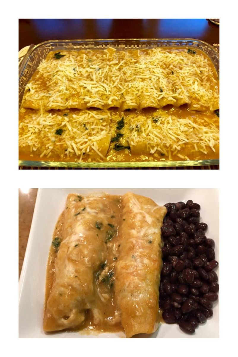 -Spinach chicken enchiladas-  -INGREDIENTS 12 white corn tortillas 1 rotisserie chicken.  De-bone and shred 2 pks. of organic frozen spinach 8oz pk. mozzarella cheese 1/2 cup of Monterey jack cheese 1Tbs of cayenne pepper 2Tbs of McCormick taco seasoning salt to taste.  -ROUGE  1/2 cup of lands end butter 3 Tbs of gluten free flour 2 1/2 cups of water 1 packet of Goya Cubits en Polvo 2Tbs of chili powder salt to taste.   Enjoy!  *Always remember* Presentation,presentation,presentation!!