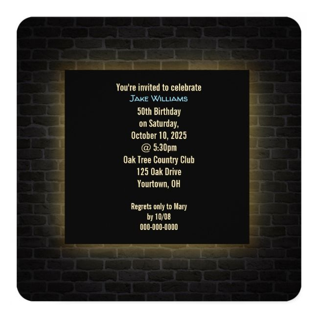 Neon 50th Birthday Sign on brick Invitation | Zazzle.com #21stbirthdaysigns