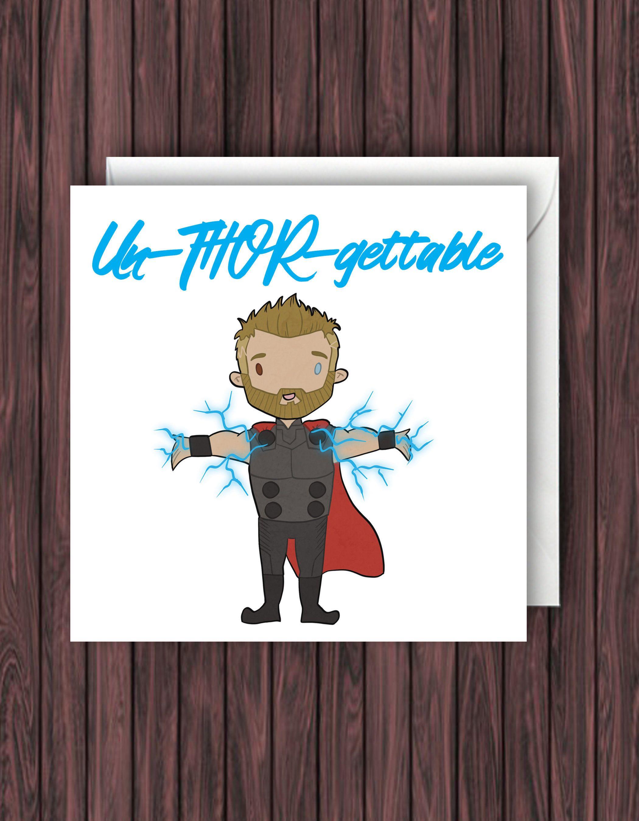 Thor Birthday Card Marvel Birthday Card Thor Love Card Etsy Thor Birthday Funny Birthday Cards Marvel Cards