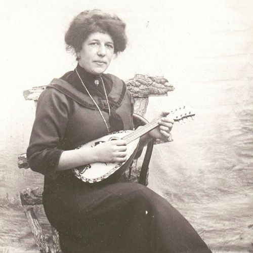 Woman With Mandolin Vintage Photography Postcard Mandolin