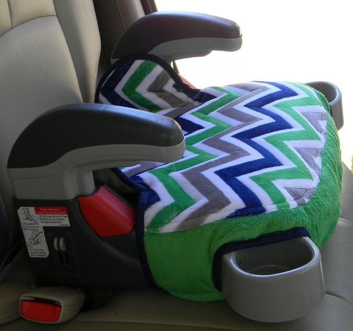 Booster seat cover for Graco Turbo booster padded and in Seahawk chevron colors and prints to delight your child by Bernie's Custom Sewing, on Zibbit.com $26.75 USD
