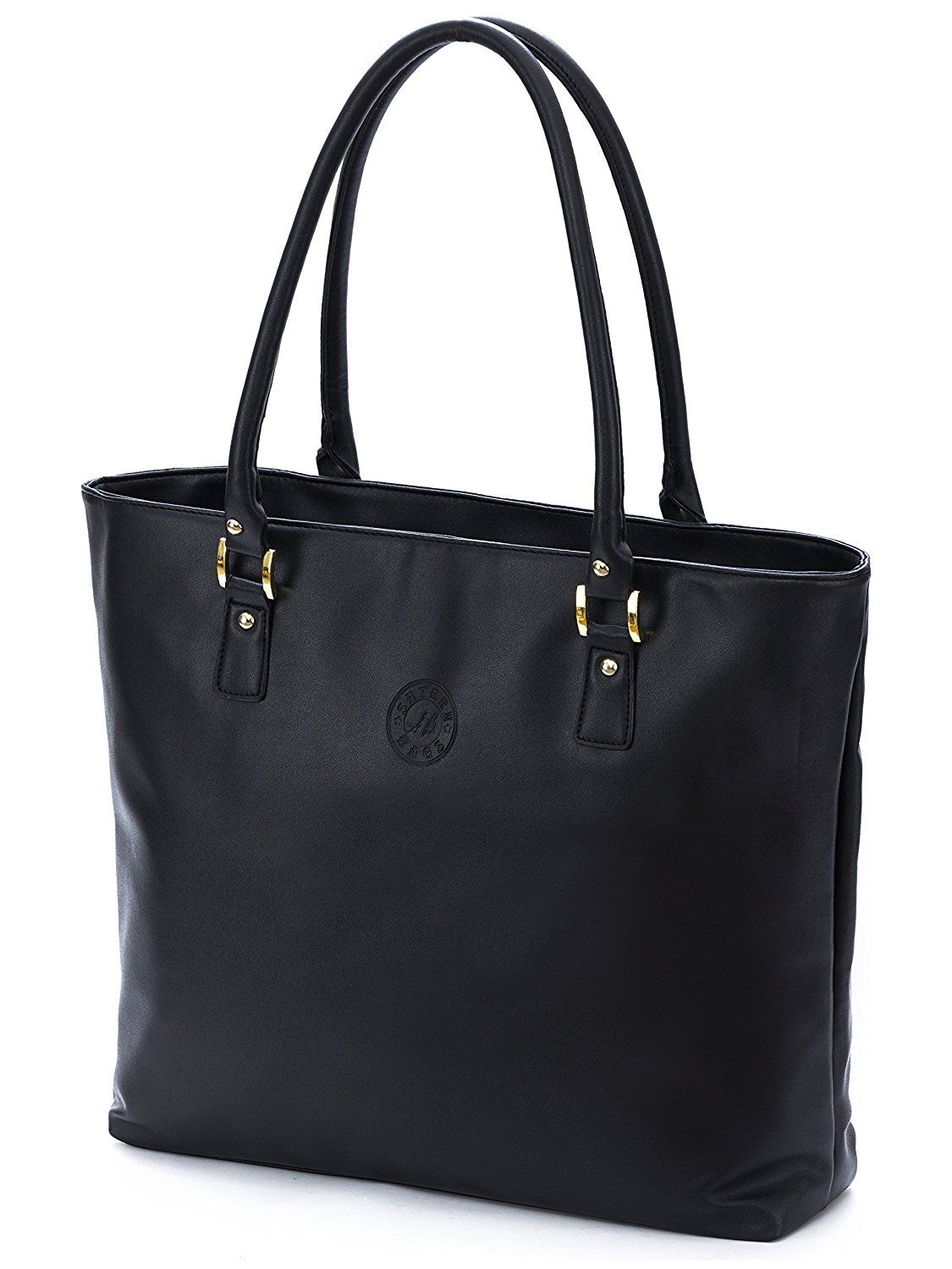 Amazon.com: Shtern Women's Laptop Tote Bag, Vegan Leather Shoulder Bag for Laptops up to 17 Inches with Plenty of Extra Space (18x14x3 Inches, Metallic Black): Computers & Accessories
