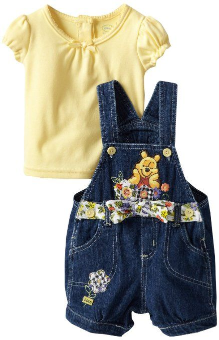 Photo of Amazon.com: Disney Baby Girls' 2 Piece Knit Pullover and Shortall, Yellow, 18 Months: Infant And Toddler Overalls: Clothing