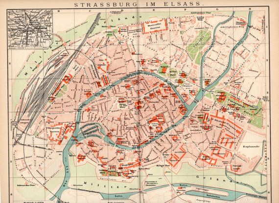 1898 Strasbourg City Map Strassburg im Elsass Alsace Region Old