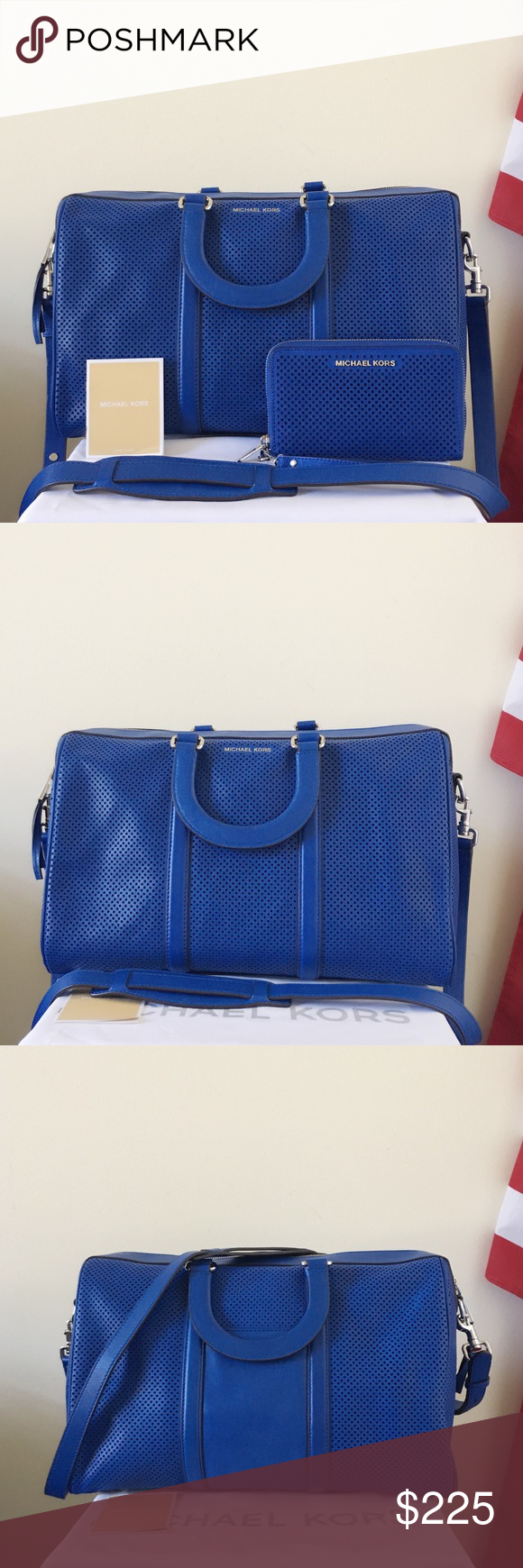 7c468cd3359801 🍀Michael Kors Large Libby Satchel Set Stunning and stylish! Such an eye  catching set! Electric blue with silver detailing. Lightly used. Authentic.