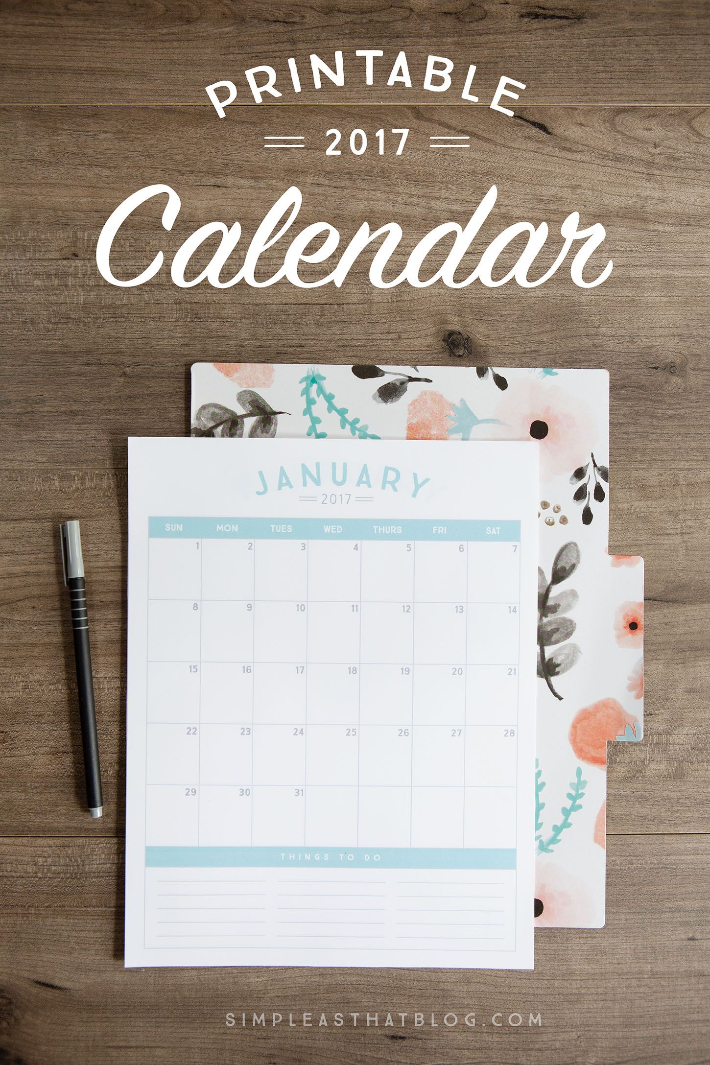 If you want to download the template above simple click the picture - Free 2017 Printable Calendar