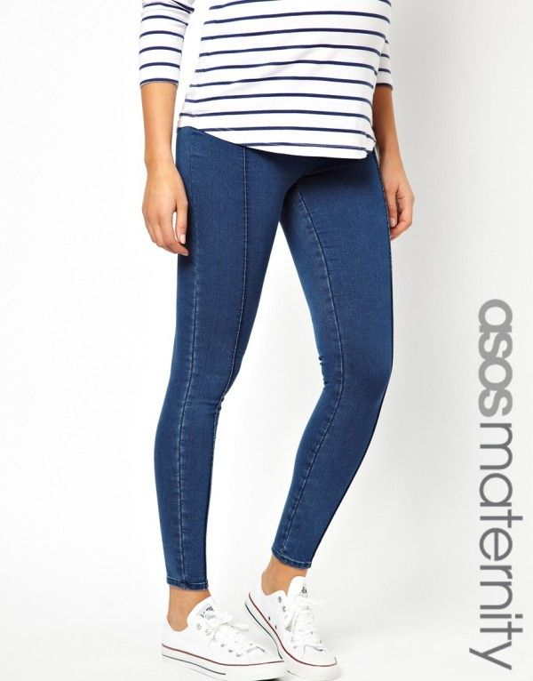 e1de8d0b41ac8 ASOS Maternity Jegging In Mid Blue with Pintuck | Women's Fashion ...