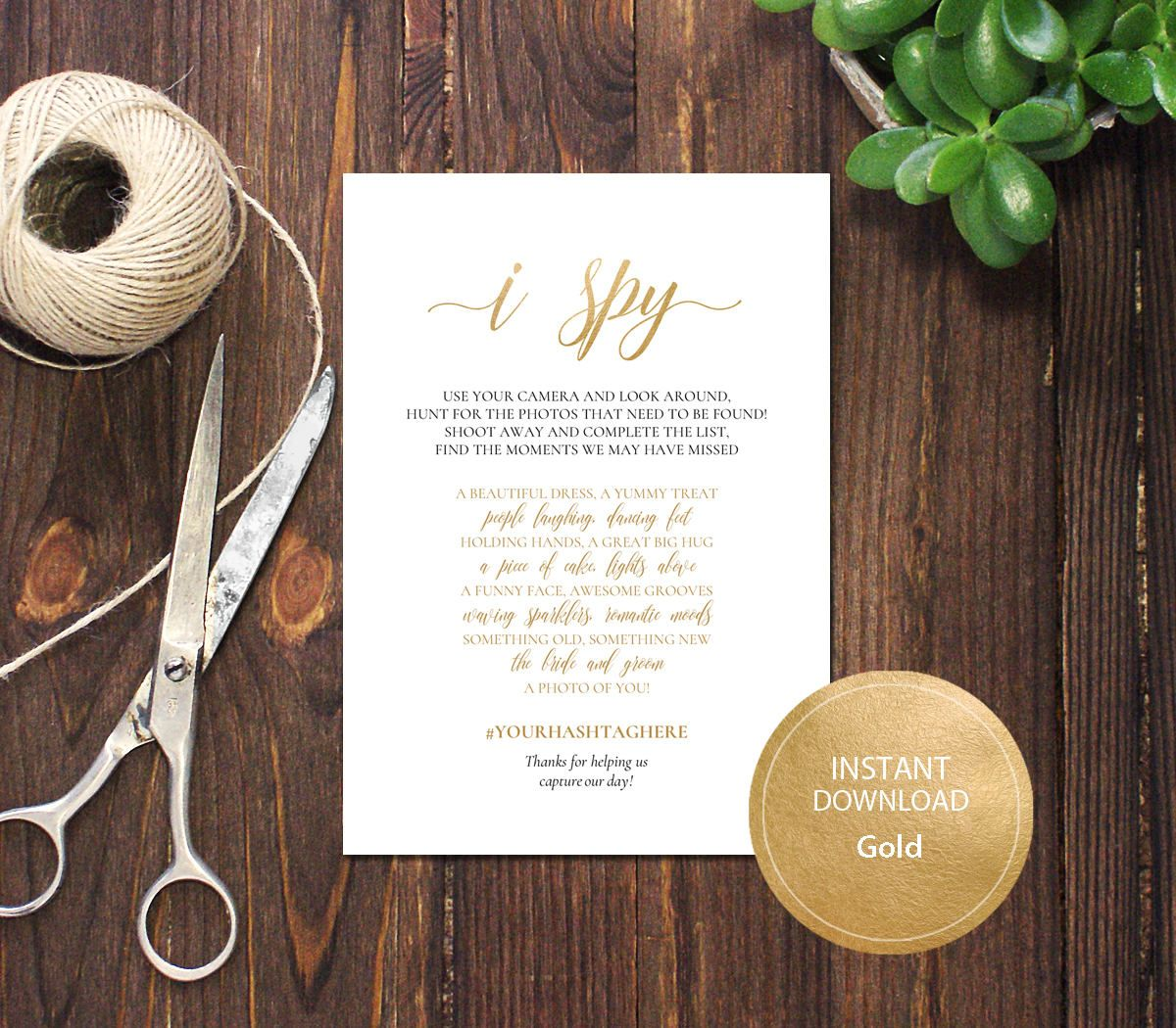 PDF Template 5x7 I Spy Wedding Game INSTANT DOWNLOAD Diy Wedding ...