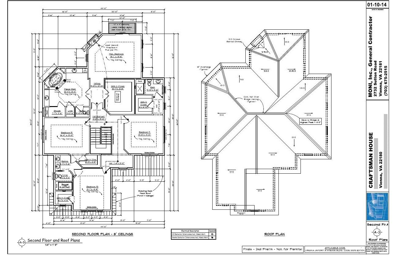 Sheet a 3 second floor and roof plans 01 10 2014 for Double hip roof design