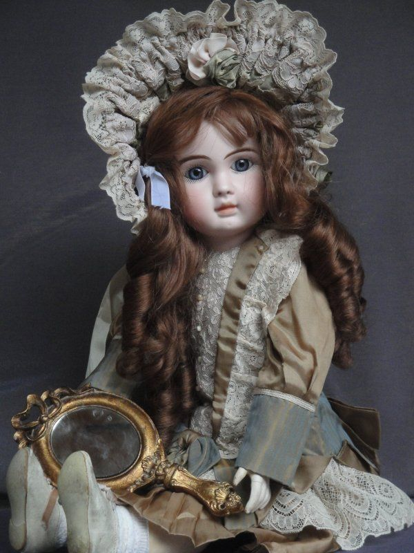 "ANTIQUE VERY RARE STEINER PORCELAIN DOLL 1880s w. CLOSED MOUTH 57cm 22.5"" TALL US $2,200.00"