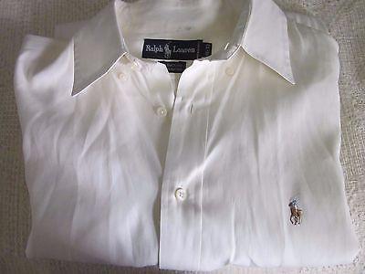 Polo Ralph Lauren L/S Classic Yarmouth Button Up Dress Cream Shirt Sz 16 33