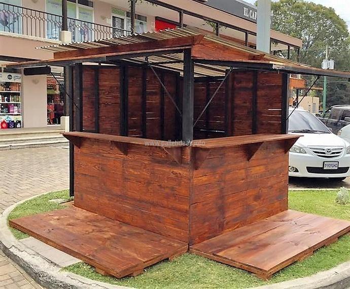 Reclaimed Wood Pallets Patio Bar Plan | Pallet patio, Diy ...