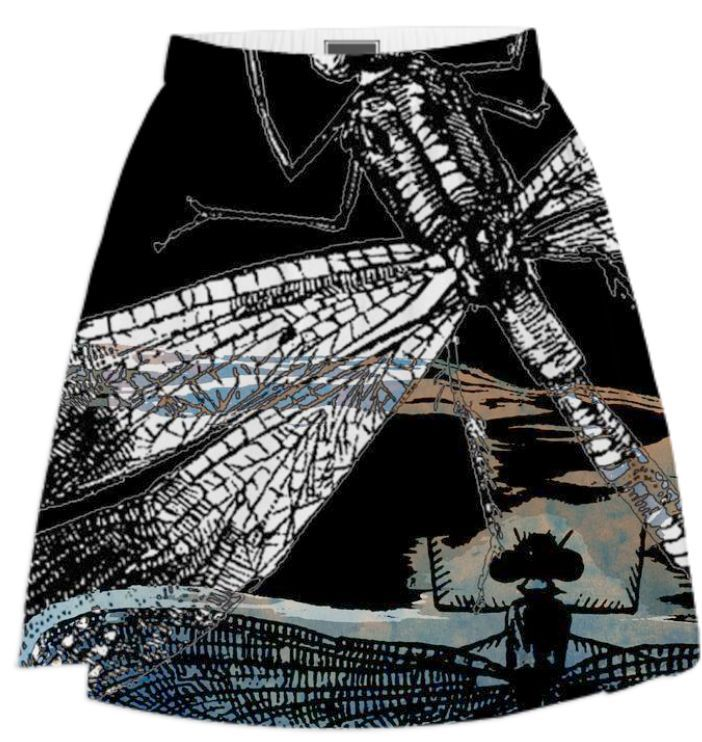 Dragonflies - Summer Skirt 2 by #ateliercolourvision from Print All Over Me. #art #skirt #summerskirt #vintage #insects #dragonfly #steampunk #collage #goth #black