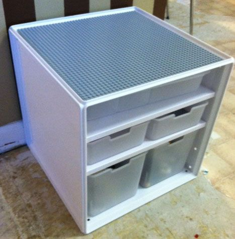 DIY Lego storage table using Target storage bins and ordered grey