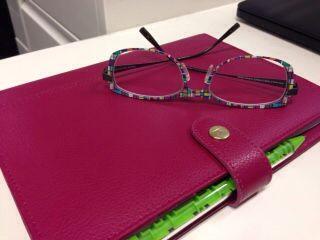 Coreen's new specs!  Interchangeable color frames!