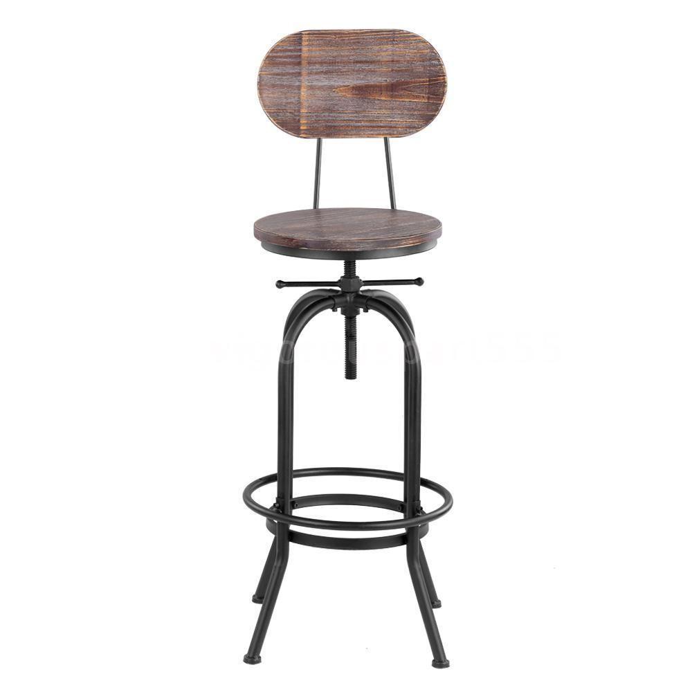 Rustic Bar Stool Vintage Industrial Wood Seat Kitchen Height Adjustable New J2f6 Ikayaa Adjustable Bar Stools Swivel Bar Stools Bar Stools
